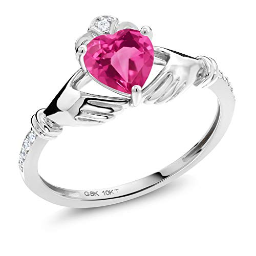 Gem Stone King 10K White Gold Pink Mystic Topaz and White Diamond Women Irish Celtic Claddagh Ring (1.01 Ct Heart Shape, Available in size 5, 6, 7, 8, 9)
