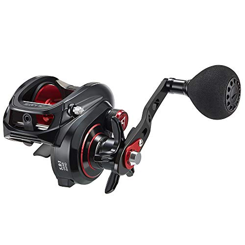 Piscifun Alijoz Size 300 Baitcasting Reels Low Profile Baitcaster Aluminum Frame Baitcast Fishing Reel, 33lb Drag 5.9:1 Gear Ratio Freshwater Saltwater Power Handle Casting Reels (Left Handed)