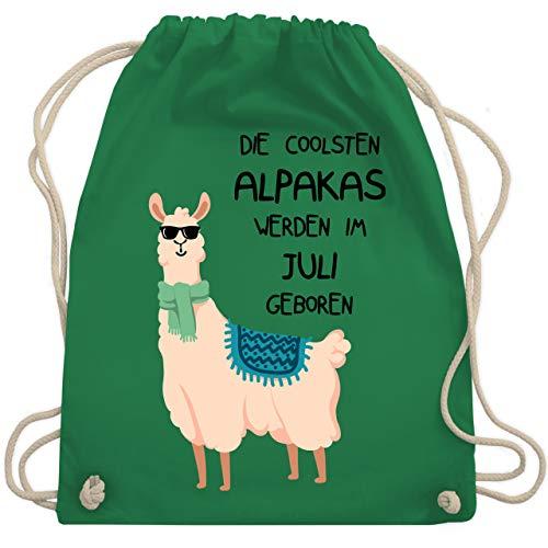 Shirtracer Geburtstag - Die coolsten Alpakas werden im Juli geboren Sonnenbrille - Unisize - Grün - Spruch - WM110 - Turnbeutel und Stoffbeutel aus Baumwolle