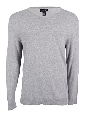 Price comparison product image Alfani Mens Regular Fit V-Neck Pullover Sweater Gray L