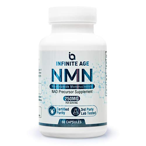 Infinite Age NMN Supplement, 250mg - Pure Nicotinamide Mononucleotide Anti-Aging Powder Capsules - Boost NAD Levels for Energy, Brain Function & DNA Repair - Anti Aging Brain Supplement for Longevity