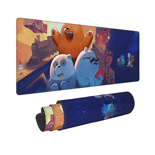 We Bare Bears Mouse Pad, Laptop Large Non-Slip Rubber Base Stitched Extended Gaming Mouse Pad for Work & Gaming, Office & Home 11.8x31.5 in (30x80cm)
