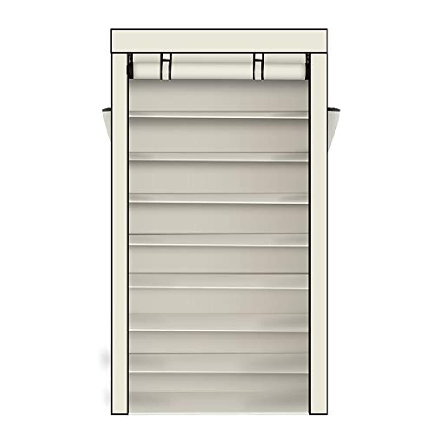 10 Tiers Shoe Rack Non-Woven Fabric with Dustproof Cover Closet 30 or 40 Pair Shoe Rack Tower Zippered Storage Cabinet Organizer (Beige)