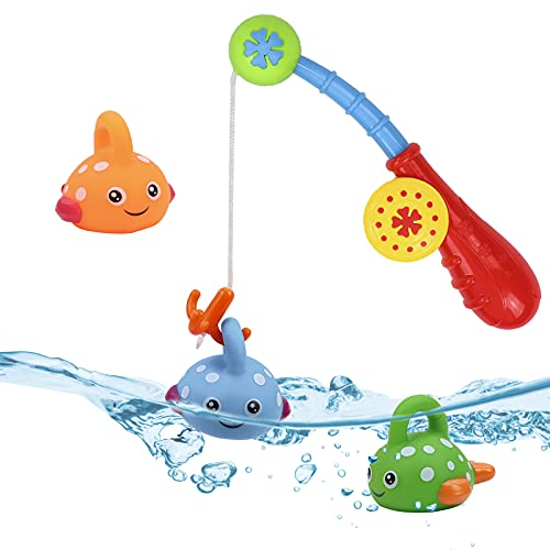 Baby Bath Toys Fishing Game with Toy Fishing Rod Swimming Paddling Pool Toys for Kids Toddler Water Play Toys Gifts Bath Toy for 1 2 3 4 5 Year Olds Girls Boys