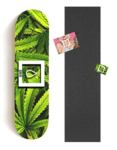 DRIP Skateboards - Weed Paradise Skateboard Deck (versch. Breiten) + Griptape & Sticker/Hochwertiger Canadian Maple! 7.75