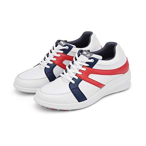 CGBF-Calzado de Golf para Mujer Talón Pendiente Aumento Interno,Zapatillas con Bloques de Color Impermeables y Antideslizantes,Rojo,38 EU