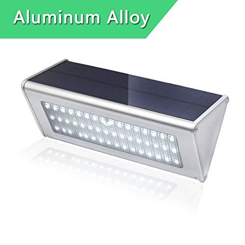 Luz Solar Exterior 48 LED Foco Solar con Sensor de Movimiento Lampara Solar Blanco Cálido Aluminio Carcasa Impermeable para Exteriores Jardín Patio