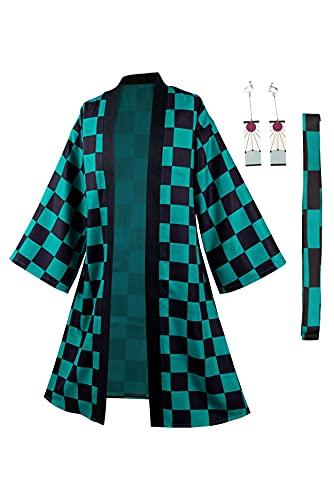 Ruleewe Demon Slayer Kamado Tanjirou kappa lång rock kimetsu ingen Yaiba cosplay kostym män anime kimono jacka kappa örhängen set