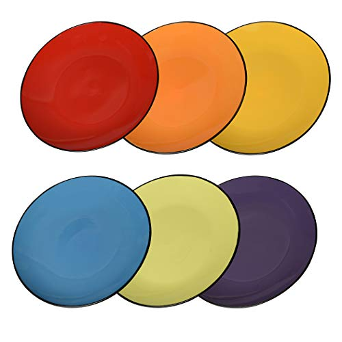 Klikel 6 Pack of Colored Dinner Plates - Dishwasher And Microwave Safe Ceramic Plate Set - Black Outside With Color Inside - Large - 10 1/2 Inch Round