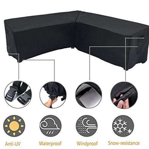 ORQ - Funda para muebles de jardín en forma de L, impermeable, resistente al polvo, para patio al aire libre, con bolsa de almacenamiento para mover protector solar