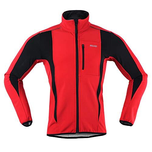 Waza - Giacca da ciclismo da uomo, in pile, antivento, per ciclismo, vestibilità rilassata Rosso XXL