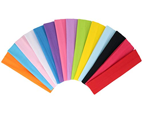 Zapire Colored Headbands for Women Stretch elastic HairBands Cloth Headbands for Girls Hair Bands Beauty Accessories (14pcs)
