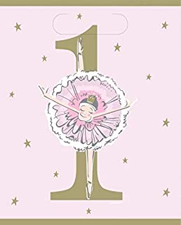 Unique Party 75943 Pink Ballerina 1st Birthday Party Loot Bags 8 Pcs