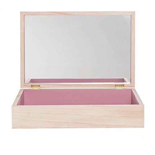 Bloomingville Storage Box, Nature/Mauve w/Mirror L45xH10xW30 cm