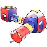 Eocusun Kinderzelt Spielzelt mit Krabbel Tunnel, 4 Teilliges Faltbar Spielhaus Kinderzelt mit...