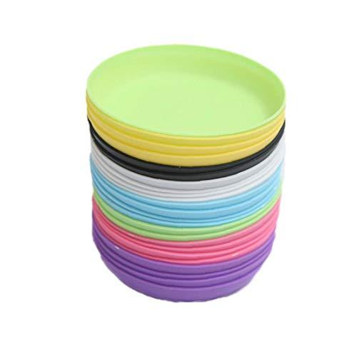 Platos de macetas, 20 uds Colorido Tiesto Tiesto Bandeja Bandeja de Goteo suculento de Pot Base Redonda de plástico para Oficina Cubierta Jardín Balcón