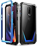 OnePlus 6T Case, Poetic Guardian [Scratch Resistant Back] [Built-in-Screen Protector] Full-Body Rugged Clear Hybrid Bumper Case for OnePlus 6T (2018) - Blue