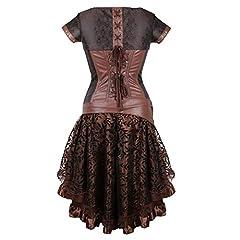 Grebrafan Steel Boned Vintage Retro Corset Skirt Set Steampunk Pirate (UK(6-8) S, Brown) #1