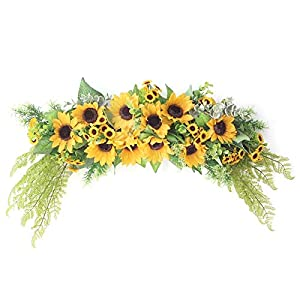 æ— Artificial Sunflower Swag,Decorative Flower Swag Fake Swag Garland with Green Leaves for Front Door Decor Indoor Outdoor Wall Hanging Wedding Decor