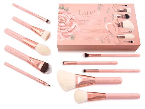 Luvia Makeup Pinsel-Set - 10 Make Up Kosmetikpinsel Inkl. Schminktasche Für Schminkpinsel & Kosmetik - Rosegolden Vintage Brush Set - Vegane Kosmetik – Profi Pinselset In Nude - Schminke