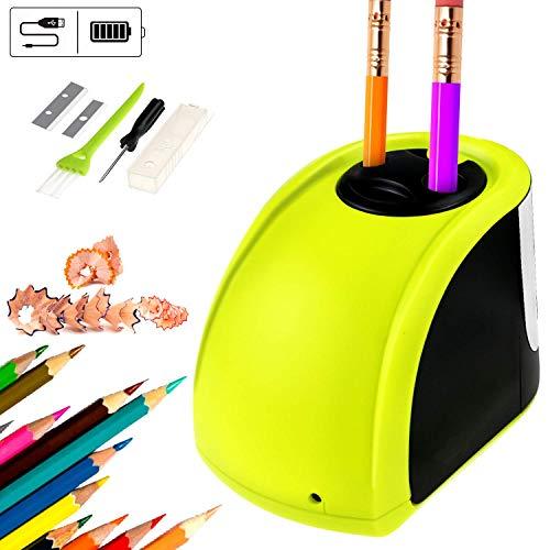Elektrische puntenslijper, automatische potloodslijper met twee gaten, werkt op batterijen en via USB, met reservemessen en schroevendraaier voor klaslokaal, kantoor
