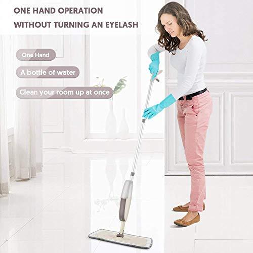 Mopa pulverizadora de microfibra de 650 ml, para suelos, botella rellenable apta para suelos de madera, mármol, azulejos, laminados o cerámica, mezcla de colores