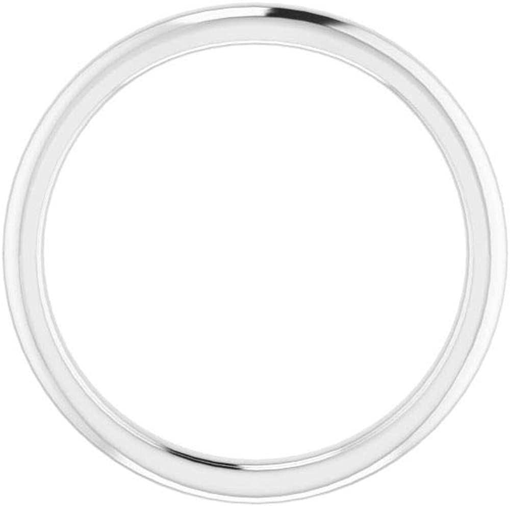 Solid Platinum Curved Notched Wedding Band for 5mm Cushion Ring Guard Enhancer - Size 7