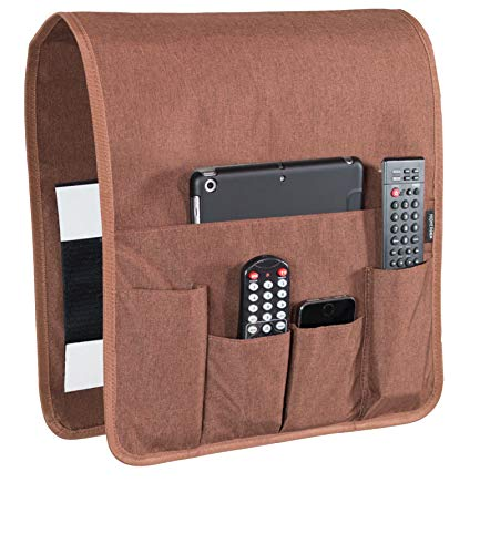"""Works Where Others Don't, Anti Slip Couch Caddy Holds 10lbs w/Hook & Loop Fastener, Easily Holds up to 12"""" Laptop, Tv Remote, Magazines, Best Solution for Max Load Capacity, Armrest Organizer (14x 35)"""