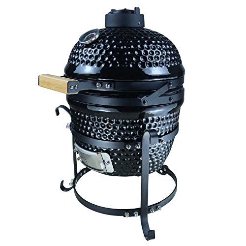Outsunny Holzkohlengrill mit abschließbarer Deckel, Kugelgrill, BBQ Campinggrill, mit Thermometer, Gusseisen, 40,5 x 35 x 55 cm