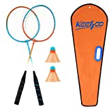 KH 2 Player Badminton Rackets Set-Lightweight & Sturdy-2 Racquets, 2 Shuttlecocks and Carrying