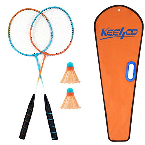 Keehoo 2 Player Badminton Rackets Set - Double Racquets, 2 Shuttlecocks and Carrying Bag Included…