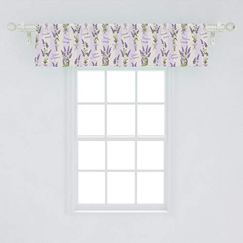 Ambesonne Lavender Window Valance, Stripes and Flowers Ribbons Romantic Country Spring Season Inspired Design Art, Curtain Valance for Kitchen Bedroom Decor with Rod Pocket, 54' X 12', Purple