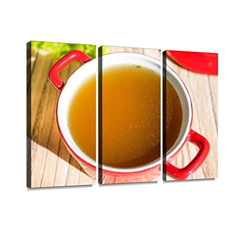 BELISIIS Chicken Broth, Bouillon, Clear Soup appetizers and Drinks Stock Wall Artwork Exclusive Photography Vintage Paintings Print on Canvas Home Decor Wall Art 3 Panels Framed Ready to Hang