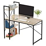 Bestier Computer Desk with Shelves 47 Inch,Reversible Writing Desk with Storage Bookshelf Home Office Desk Study Table Work Desk with Shelves Office Bookshelf Corner Desk Easy Assemble (47 Inch, Oak)