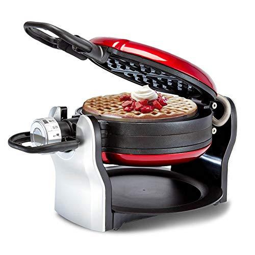 Chef Turk Red 180 ° De Rotación Wafflera 3 Velocidades De Ajuste Inicio Mollete Fabricante Mini Crepe De Doble Cara De Doble Capa Calefacción Desayuno Fabricante