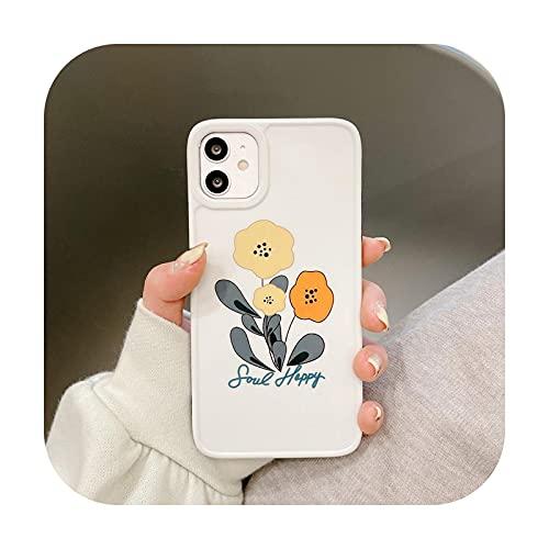 Moda estilo coreano Floret flor piel piel teléfono caso para iPhone 12 Mini 12 11 Pro Max 7 8 Plus SE2 X XSMax blanco suave IMD-T1-para iPhone 12Pro Max