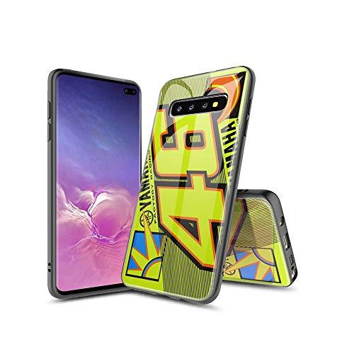 MinSA CC Samsung Galaxy S10 Plus Funda, patrón de Calidad de Vidrio Templado en la Parte Posterior + TPU Protector Lateral Caso para Samsung Galaxy S10 Plus 005#B