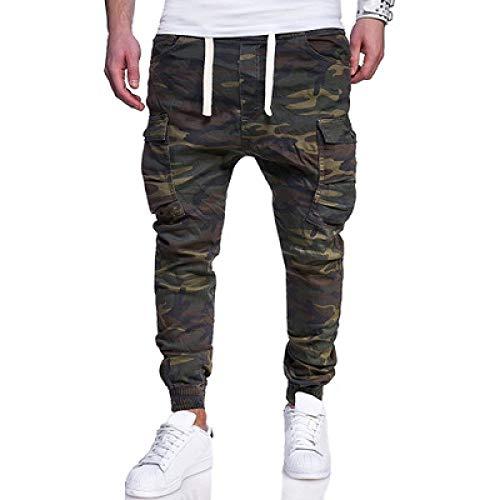 Pantalones cargo para hombre Pantalones de combate de campo de camuflaje militar Pantalones de combate de caza resistentes al desgaste Pantalones de jogging de pie de viga de bolsillo de chuleta Large