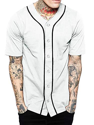Hat and Beyond Herren Baseball Button Down Jersey Hipster Hip Hop T Shirts - Weiß - Klein