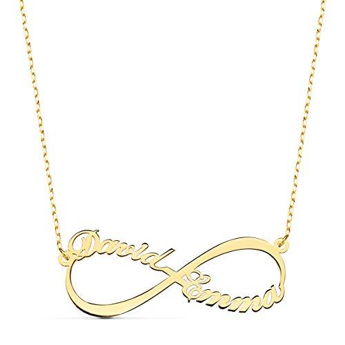 Alda Joyeros Collana con simbolo dell'infinito in oro 18 K (750) – Due nomi personalizzati, ciondolo coppia Duo, catena regolabile