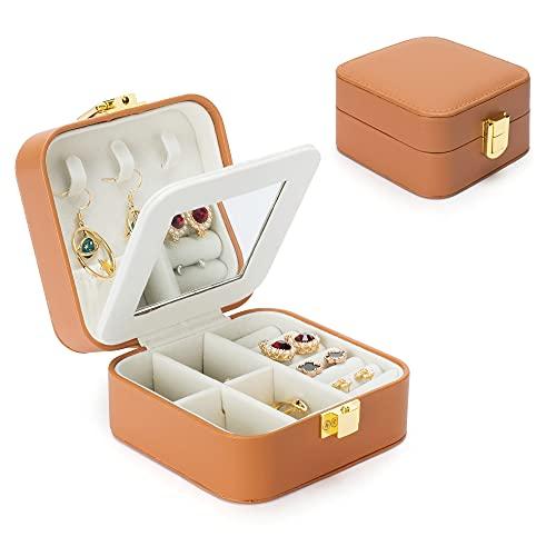 Joyero, joyero con 2 cajones, organizador de joyas con cerradura con espejo, estuche de viaje extraíble, para anillos, pulseras, pendientes, forro de terciopelo (marrón, 9.5x9.5x5cm)