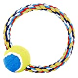 P J Pet Products Rope Ring with Tennis Ball Dog Toy to Throw, Tug and Chew