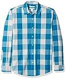 Amazon Essentials - Camisa informal de popelín de manga larga de corte entallado para hombre, Teal Buffalo Check, US S (EU S)
