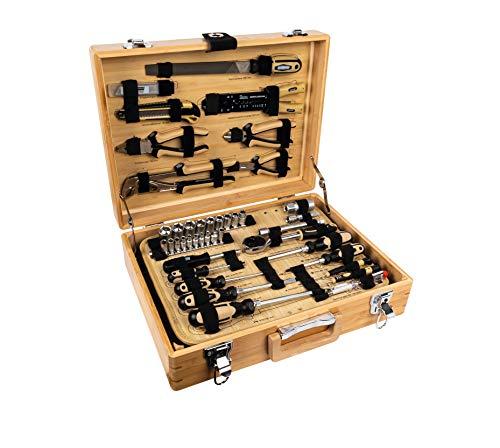 Brüder Mannesmann Werkzeuge M29002 108-tlg. Bambus-Werkzeugkoffer