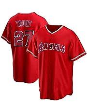 男性用MLBTシャツ、ロサンゼルスエンゼルスオブアナハイムの野球ユニフォーム#27トラウトロゴデザインメジャーリーグベースボールチームスポーツウェアファンジャージー半袖ユニセックス(A、XXL)
