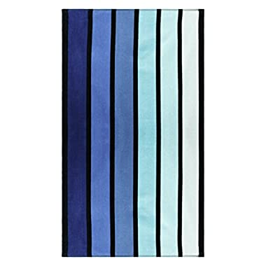 Superior Luxurious 100% Cotton Beach Towels, Oversized 34  x 64 , Soft Velour Cotton and Absorbent Cotton Terry, Thick and Plush Striped Beach Towels - Blue Faded Ombre Stripes