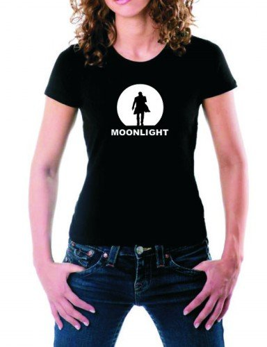 Coole-Fun-T-Shirts Moonlight T-Shirt schwarz/Weiss/Girly Alex O'Loughlin GR.M