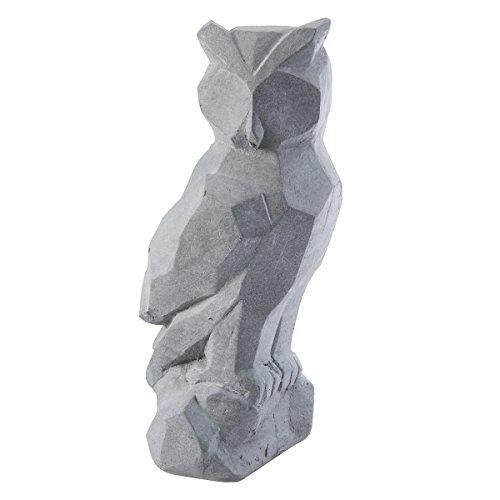 Wedestock Statue déco hiboux Design en résine Grise intérieur ou extérieur 45x20x20cm