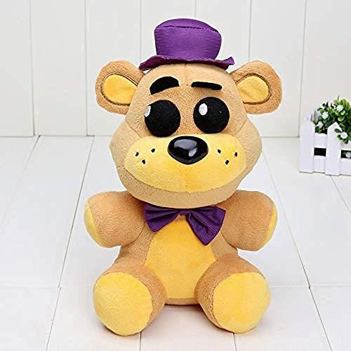 LFSLAS 25cm FNAF Five Nights at Freddy Plush Toys Nightmare Fredbear Golden Freddy Fazbear Plush Toys Doll 25cm Purple hat