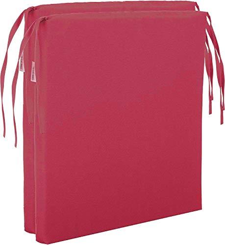 Pack de 2 Cojines de Asiento para sillas de Jardín Cojín de Silla de Madera. Cojín de Silla de Comedor (Rojo)
